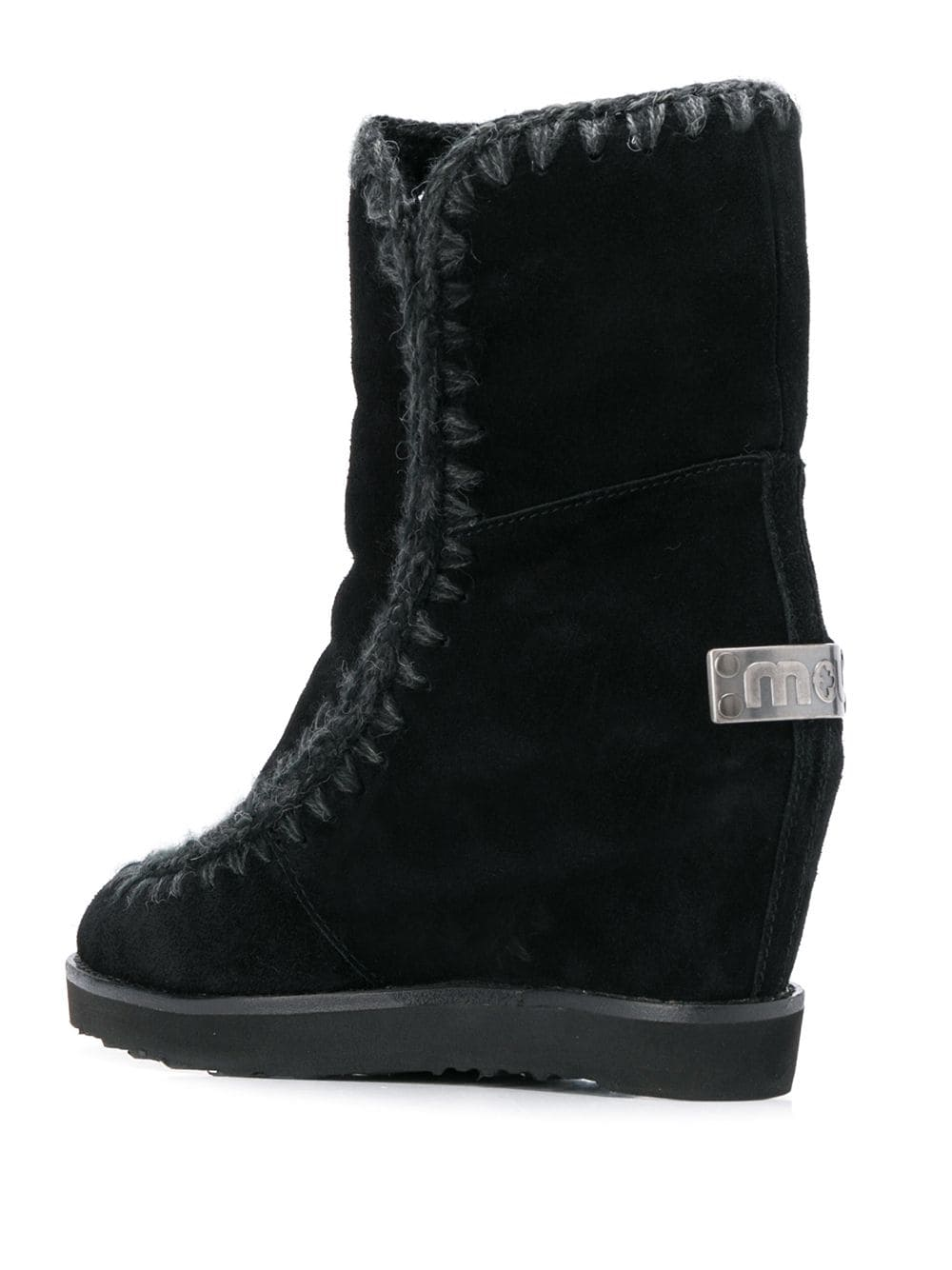 Mou French Toe Wedge Short boots - Black