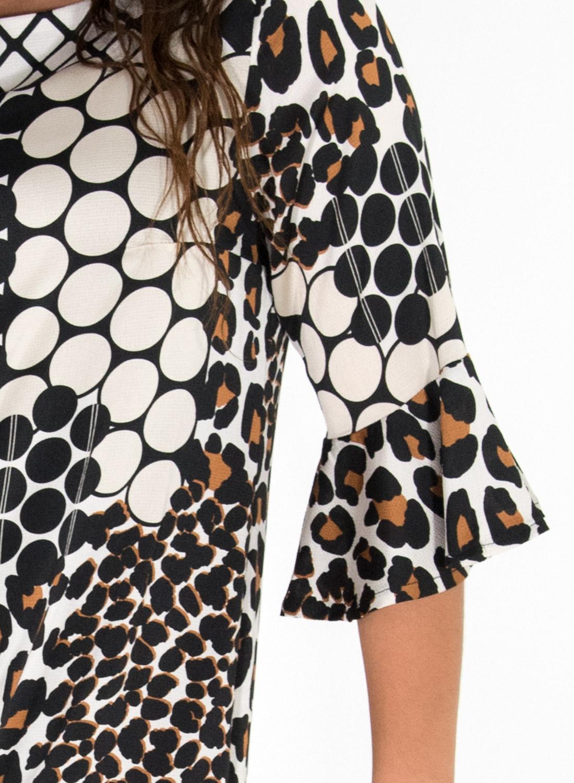 RAVE Midi εμπριμέ ίσιο φόρεμα με βολάν στα μανίκια.