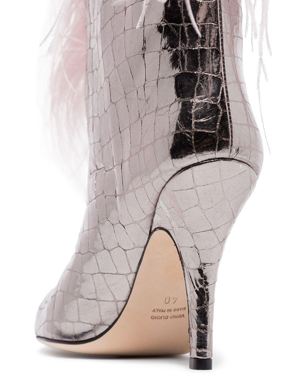 Paris Texas crocodile effect 90 feather trim boots - SILVER