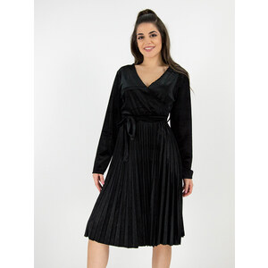 style Κρουαζέ φόρεμα βελουτέ με πλισέ φούστα και ζώνη μαύρο - Glami.gr 008128fa262