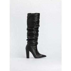 6a40d9b22a7 The Fashion Project Block heel μυτερές μπότες με σούρες - Μαύρο ...