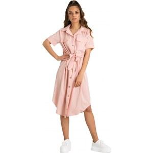 6293c25025f2 DeCoro F9849 Φόρεμα με Ζωνάκι midi - ΡΟΖ - 10 - Glami.gr