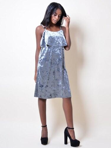 49a3c51dba99 DeCoro F1650 Φόρεμα Velvet με Βολάν   Πέρλες - ΑΝΘΡΑΚΙ 14332 - Glami.gr
