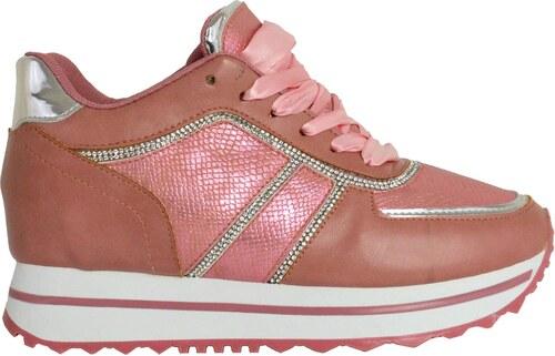 -45% ToRouxo Γυναικεία δίσολα sneakers ροζ με σατέν κορδόνια και στρας  RL17019R 1be086b71e1