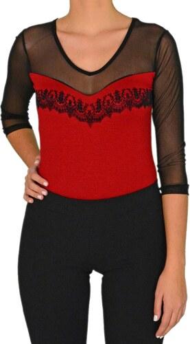 032b161681e4 Γυναικείο διαφανές κορμάκι Coocu κόκκινο velvet 33793 - Glami.gr