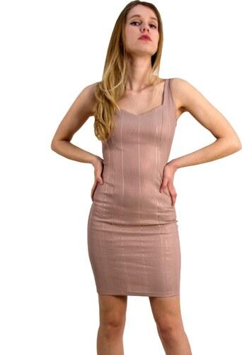 cd286b33ba45 Cocktail Γυναικείο φόρεμα με ριπ γυαλιστερό ύφασμα nude 013900051 ...