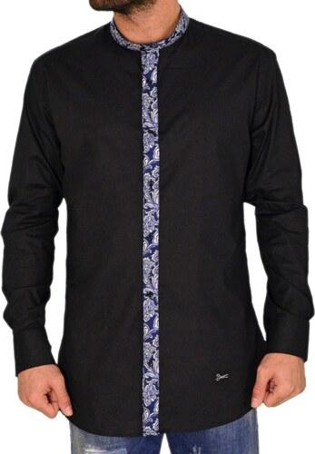 Ανδρικό πουκάμισο με μάο γιακά Ben Tailor μαύρο 25799 - Glami.gr ace5aa9bba2