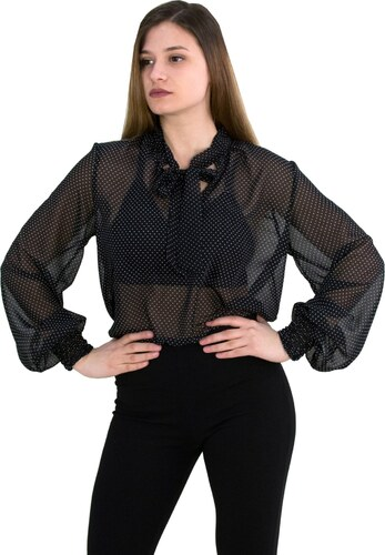 ed6eceb3a1f1 Γυναικείο πουκάμισο κορδέλα λαιμός Benissimo μαύρο πουά 39462 - Glami.gr