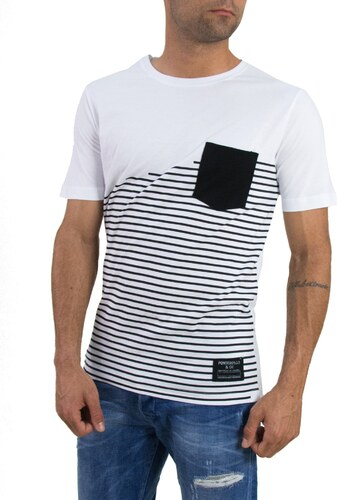 65c39ea840a8 Ponte Rosso Ανδρικό t-shirt ριγέ ασπρόμαυρο τσεπάκι 1154 - Glami.gr