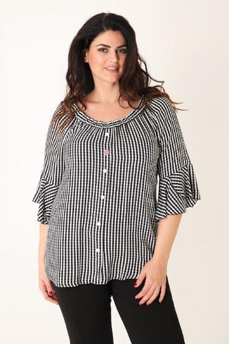 f0f559baf9fb Dina XL Μπλούζα καρό με ελαστική λαιμόκοψη - Glami.gr