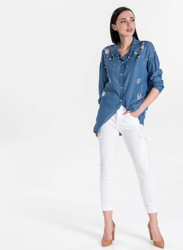 5004115b151a The Fashion Project Ψηλόμεσο cargo παντελόνι - Λευκό - 04181001003 ...