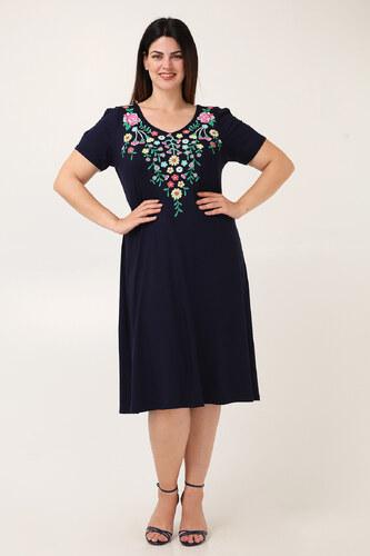 9e64ec421cb4 Dina XL Φόρεμα midi φλοράλ μπορντούρα - Glami.gr