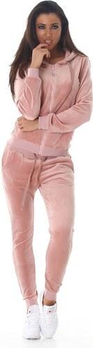 9a94de47fc6 LX Fashion 61060 LX Μοντέρνα βελουτέ φόρμα - Ροζ - Glami.gr