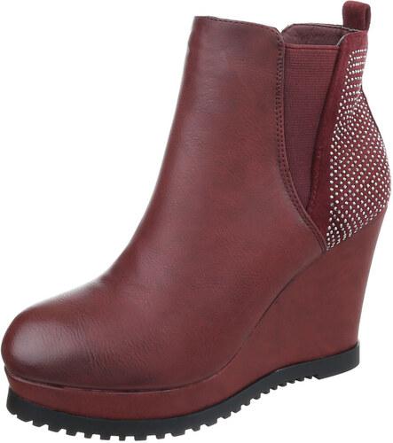 LD shoes 0660 LD Γυναικεία μποτάκια πλατφόρμα με τρούκς - μπορντώ ... 95de4fee5ec