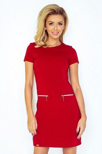 Numoco 70071 NU Κοντομάνικο μίνι φόρεμα με φερμουάρ - κόκκινο - Glami.gr bafa040ecc3