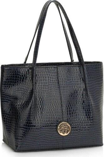 99fbc002ed LS Bags 1419 LS Γυναικεία μεγάλη τσάντα ώμου φίδι LS00454 - Μπλέ navy