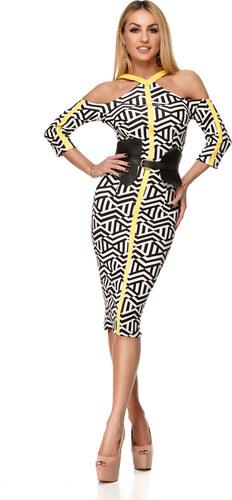 d2f70f324c19 RO FASHION 9229 RO Μίντι φόρεμα με τελεια εφαρμογή - Μαύρο άσπρο ...