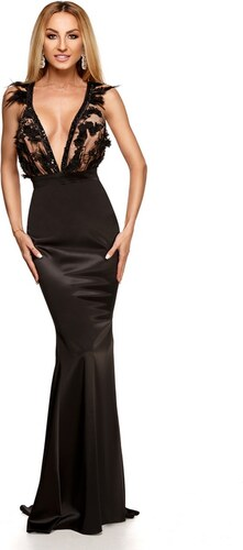 RO FASHION 9215 RO Μάξι σατέν φόρεμα με πούπουλα και παγιέτες - Μαύρο 953c43656dd