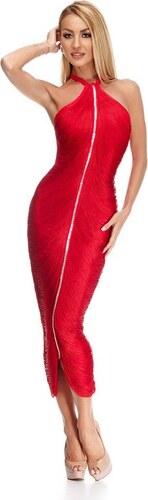 RO FASHION 9204 RO Εντυπωσιακό μακρύ φόρεμα με κρόσσια και στρας - Κόκκινο a9df46e2b48