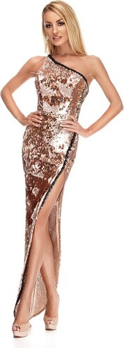 RO FASHION 9206 RO Βραδινό μάξι φόρεμα με παγιέτες - Χρυσό ροζ ... 847a6fb90d9