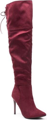 029c72c2804 IDEAL SHOES 0610 ID Σουέτ Ψηλές Μπότες - Μπορντώ - Glami.gr