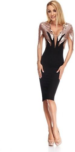 RO FASHION 9205 RO Βραδινό μίντι φόρεμα με ροζ παγιέτες - Μαύρο - Μαύρο 84f19695545