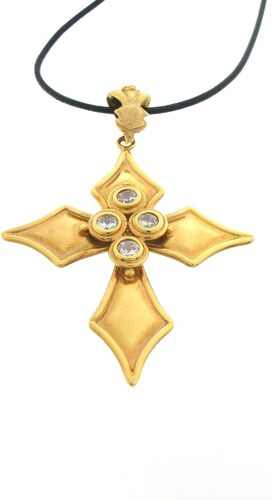 Mertzios.gr Χρυσό κολιέ σταυρός 14 καράτια με μαύρο κορδόνι - Glami.gr 7e84f9434d3