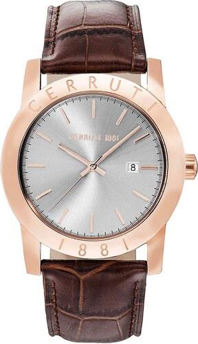 Ρολόι Cerruti Valvori με ημερομηνία και καφέ λουράκι CRA160SR13BR ... 4a9af854064
