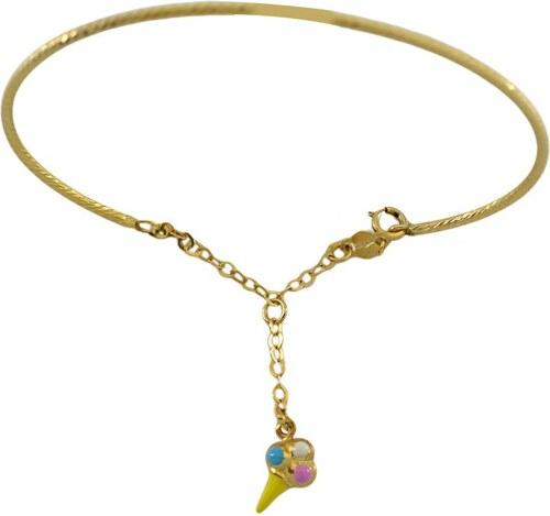 Mertzios.gr Παιδικό βραχιόλι χειροπέδα χρυσό 14 καράτια με παγωτό ... 2e967b448e5