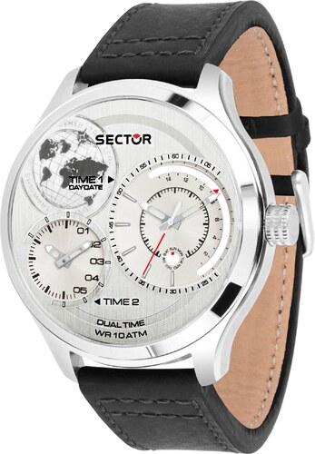 Ρολόι Sector Traveller Collection με μαύρο λουράκι και διπλή ώρα R3251504002 75e8615fd15