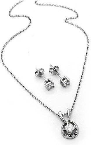 OEM Σετ κρεμαστό αλυσίδα και σκουλαρίκια ασημένιο - Glami.gr 3059272c917