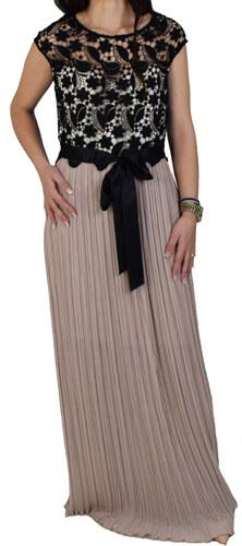 44fb3ef508b0 Φόρεμα Maxi Με Δαντέλα Forel 505011 Μαύρο Πούδρα forel 505011 mayro poydra