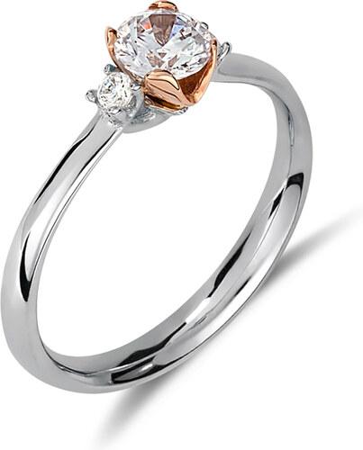 Haritidis Μονόπετρο δαχτυλίδι από λευκό και ροζ χρυσό 14 καρατίων με μία  κεντρική και 2 πλαινές πέτρες ζιρκόν. ZH14674 07efe5012ab