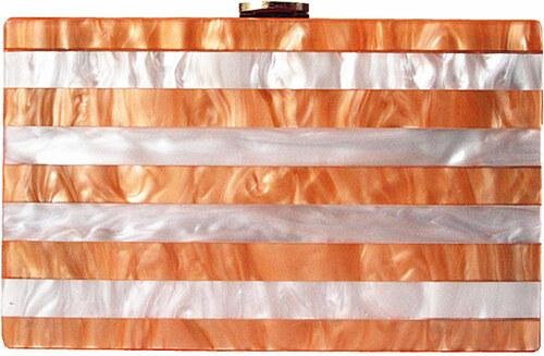 175949f70a style Τσάντα απο ακρυλικό ριγέ λευκό και golden rose - Glami.gr