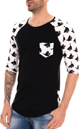 f2117e065261 AL FRANCO Ασπρόμαυρο ανδρικό T-shirt με μαύρα τυπώματα και τσεπάκι ...