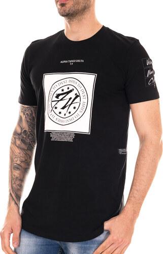 2b2e1a261440 BLACK4 Μαύρο ανδρικό T-shirt με λευκά τυπώματα - Glami.gr