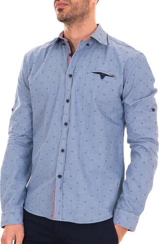Zen Zen Μπλε ανοιχτό ανδρικό πουκάμισο με σχέδια και λεπτές γραμμές ... af16e221e8b