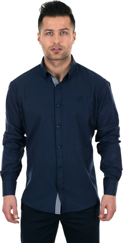 c425f2787f4c Al Franco Σκούρο μπλε ανδρικό πουκάμισο με ασπρόμαυρες λεπτομέρειες ...
