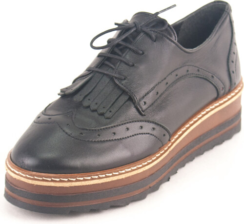 Kouros Γυναικεία Δερμάτινα Παπούτσια τύπου Oxford. Σχέδιο K300 Μαύρο ... bc862543d08