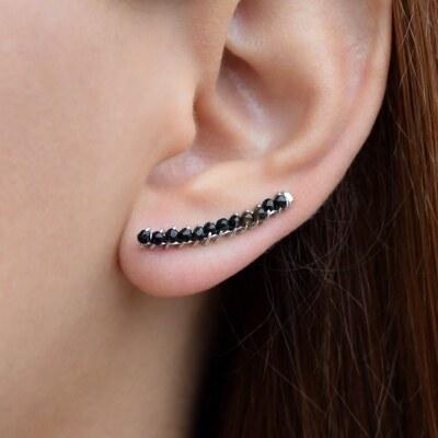 Ασημένια σκουλαρίκια ear cuffs με μαύρο αχάτη - Glami.gr 797b1c7a100