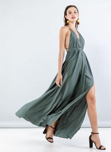 a1a674e3fa71 NAIBA Maxi φόρεμα με άνοιγμα στο πλάι - 05114022 - Χακί - Glami.gr