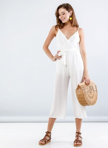The Fashion Project Ολόσωμη cropped κρουαζέ φόρμα - Λευκό - 001 ... 880389337b3