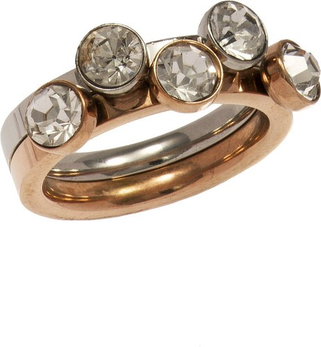 9c2b4d5c90 Mertzios.gr Διπλό δαχτυλίδι ρόζ χρυσό ατσάλι με κρύσταλλα swarovski ...