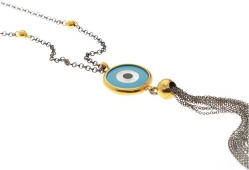 Mertzios.gr Κολιέ χρυσό και μαύρο ασήμι 925 με ματάκι και φούντα ... f8123200a7b