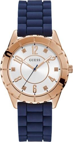 Ρολόι Guess με μπλε λουράκι και ασημί καντράν W1095L2 - Glami.gr bb007d28eb0