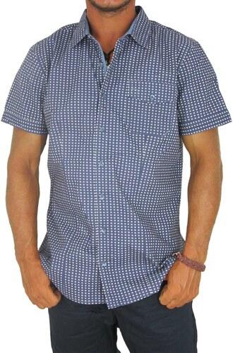 c7d7870e89bc OEM Ανδρικό πουκάμισο μπλε με πριντ τετραγωνάκια και πουά - Glami.gr