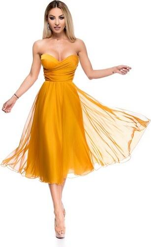 33cf3f21dae RO FASHION 9253 RO Εντυπωσιακό στράπλες μίντι φόρεμα - Κίτρινο ...