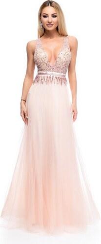 RO FASHION 9264 RO Μάξι φόρεμα με παγιέτες και τούλι υψηλής ποιότητας - Ροζ 7c41444b3fa