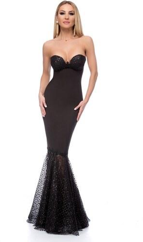 RO FASHION 9265 RO Μάξι στράπλες γοργονέ φόρεμα με glitter - Μαύρο ... ed2b88ea29a