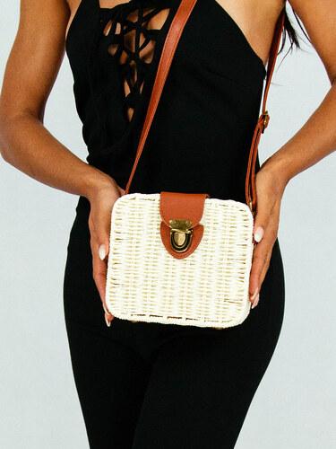 -20% style Ψάθινη τσάντα τετράγωνη άσπρη με δερμάτινες λεπτομέρειες 001f126743f